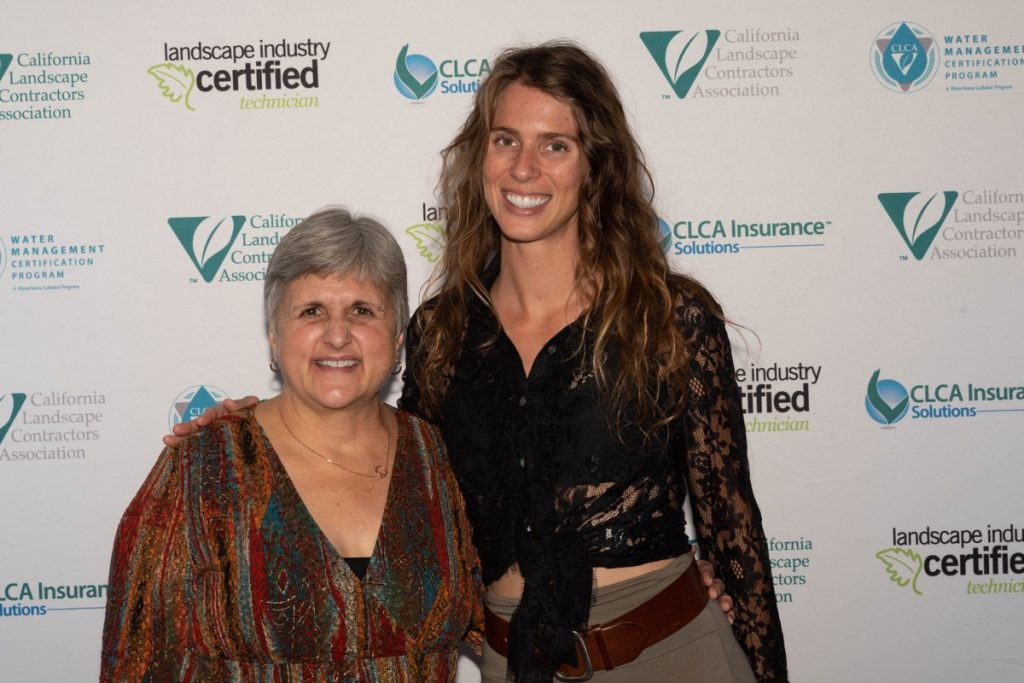 LEAF Scholarship Selection Chair Marianne Estournes re-unites with LEAF scholarship recipient Hallie Schmidt during CLCA's 2019 Annual Convention. Hallie is now the owner and chief designer of Tierra Madre.