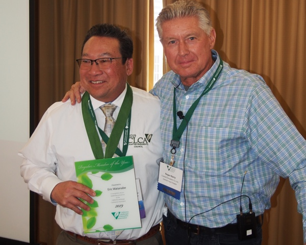 Eric Watanabe, 2019 Regular Member of the Year, with 2020 President Regan Barry