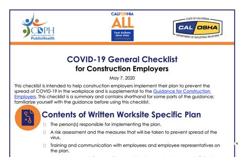General COVID checklist for construction employees